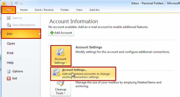 Add Email Account In Outlook 2010