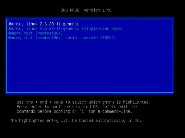 Ubuntu Grub2 Boot Menu