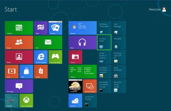 Windows 8 Metro UI Control Panel