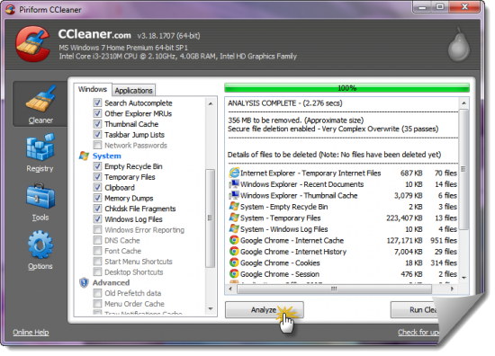 CCleaner 3.19 in work e1345140969245 3 Best Free System Optimizers for Windows