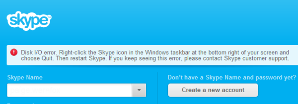 Disc IO error on skype