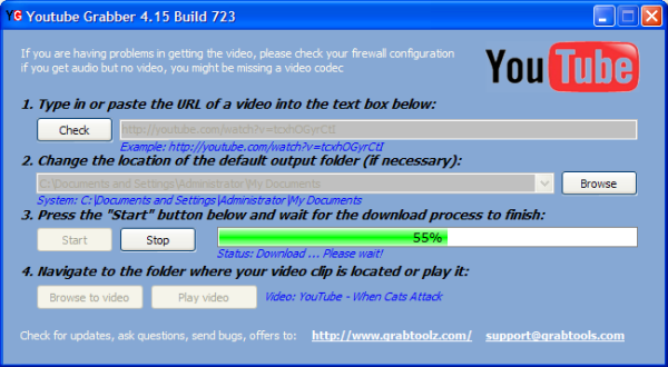 Download YouTube Videos Using YouTube Grabber