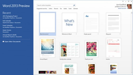 Microsoft Word 2013 Templates