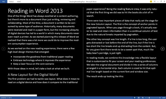 word 2013 read mode