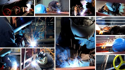 stock-footage-welder-at-work-in-metal-industry-multiscreen