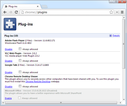 chrome plug ins1 How To View And Remove Plugins From Any Browser