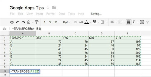 transpose formula google spreadsheet 1 How To Use The Google Drive Spreadsheet In Your Android Device